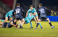 8th January 2021; AJ Bell Stadium, Salford, Lancashire, England; English Premiership Rugby, Sale Sharks versus Worcester Warriors;  Sam Hill of Sale Sharks tackles Matt Kvesic of Worcester Warriors watched by Tom Curry and  AJ MacGinty of Sale Sharks