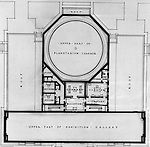 Pittsburgh PA:  View of a drawing created by Ingram & Boyd Architects of the new Buhl Planetarium.  This view is a close-up of the proposed 2nd-floor layout of the planetarium. The project was completed in 1939.  The Buhl Planetarium was built with monies from the Buhl Foundation; a foundation created by the wealthy North Side clothier Henry Buhl of Boggs and Buhl department store fame.  Brady Stewart was selected for the job due to his specialized equipment; an 8x10 Dierdorff camera, and his expertise in lighting and photographing large renderings and drawings.