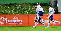 England player Hallam Hope, left, celebrate his first goal with teammates Alex Henshall and  Nicholas Powell, during UEFA U-17 championship group A, France against England, Indjija, Serbia, 03.05.2011. (Photo Aleksandar Dimitrijevic/Starsportphoto.com)