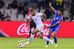 Abdulwahab Ali Alsafi of Bahrain (L) competes for the ball with Hali Charan Narzary of India during the AFC Asian Cup UAE 2019 Group A match between India (IND) and Bahrain (BHR) at Sharjah Stadium on 14 January 2019 in Sharjah, United Arab Emirates. Photo by Marcio Rodrigo Machado / Power Sport Images