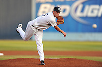 Asheville Tourists pitcher Nick Schnaitmann #25 delivers a pitch during the second game of a double header against the Greensboro Grasshoppers at McCormick Field on July 26, 2011 in Asheville, North Carolina. Greensboro won the game 5-3.   (Tony Farlow/Four Seam Images)