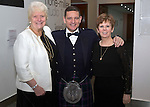 St Johnstone FC Scottish Cup Celebration Dinner at Perth Concert Hall...01.02.15<br /> Chairman Steve Brown with Provost Liz Grant and Bernadette Malone P&K Council Chief Exec<br /> Picture by Graeme Hart.<br /> Copyright Perthshire Picture Agency<br /> Tel: 01738 623350  Mobile: 07990 594431