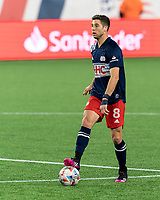 FOXBOROUGH, MA - APRIL 24: Matt Polster #8 of New England Revolution looks to pass during a game between D.C. United and New England Revolution at Gillette Stadium on April 24, 2021 in Foxborough, Massachusetts.