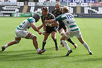 Sunday 19 October 2014<br /> Pictured: Ospreys outside-half Dan Biggar gets wrapped-up by the Treviso defence.<br /> Re: Ospreys v Treviso, Heineken Champions Cup at the Liberty Stadium, Swansea