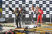 2017 Verizon IndyCar Series<br /> Toyota Grand Prix of Long Beach<br /> Streets of Long Beach, CA USA<br /> Sunday 9 April 2017<br /> James Hinchcliffe, champagne, podium<br /> World Copyright: Michael L. Levitt<br /> LAT Images