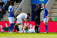 11th September 2021; King Power Stadium, Leicester, Leicestershire, England;  Premier League Football, Leicester City versus Manchester City; Caglar Soyuncu of Leicester City is shown the yellow card by referee Paul Tierney