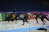 SCHAATSEN: HEERENVEEN: IJsstadion Thialf, 08-11-2012, training Thialf, Pim Schipper, Kjeld Nuis, Ronald Mulder, Jan Smeekens, Stefan Groothuis, ©foto Martin de Jong