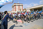 The start of Stage 1 of Tirreno-Adriatico Eolo 2021, running 156km from Lido di Camaiore to Lido di Camaiore, Italy. 10th March 2021. <br /> Photo: LaPresse/Gian Mattia D'Alberto   Cyclefile<br /> <br /> All photos usage must carry mandatory copyright credit (© Cyclefile   LaPresse/Gian Mattia D'Alberto)
