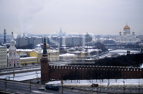 Moscow, Russia. High view of Moscow from the Kremlin in snow.