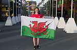 Wales swimmer Jazz Carlin is unvailed as the flag bearer for Wales to lead the team out during the opening ceremony <br /> <br /> *This image must be credited to Ian Cook Sportingwales and can only be used in conjunction with this event only*<br /> <br /> 21st Commonwealth Games - Wales Welcoming ceremony - Athletes Village - 03/04/2018 - Gold Coast City - Australia