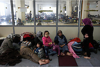 Pictured: Refugees of all ages at the Helliniko camp Friday 26 February 2016<br />Re: Refugees have been turning up at the Helliniko refugee camp in the outskirts of Athens, Greece.