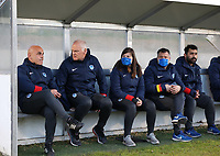 Genk staff pictured before a female soccer game between FC Femina White Star Woluwe and KRC Genk on the third matchday of play off 2 in the 2020 - 2021 season of Belgian Scooore Womens Super League , Friday 23 th of April 2021  in Woluwe , Belgium . PHOTO SPORTPIX.BE | SPP | SEVIL OKTEM