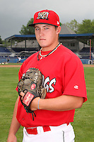 Batavia Muckdogs pitcher Nick McCully (13) poses for a photo before minicamp team practice at Dwyer Stadium in Batavia, New York June 14, 2010.   Photo By Mike Janes/Four Seam Images