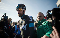 Lots of media attention for Sir Bradley Wiggins' (GBR/Sky) very last race in the Team SKY kit.<br /> <br /> 113th Paris-Roubaix 2015