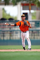 GCL Orioles shortstop Irving Ortega (1) throws to first during a game against the GCL Twins on August 11, 2016 at the Ed Smith Stadium in Sarasota, Florida.  GCL Twins defeated GCL Orioles 4-3.  (Mike Janes/Four Seam Images)