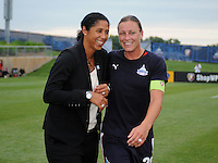 Halftime honorees Steffi Jones (former Freedom player) and Freedom forward Abby Wambach. The Los Angeles Sol defeated the Washington Freedom 1-0 at the Maryland SoccerPlex in Boyds, MD on Sunday July 5, 2009.