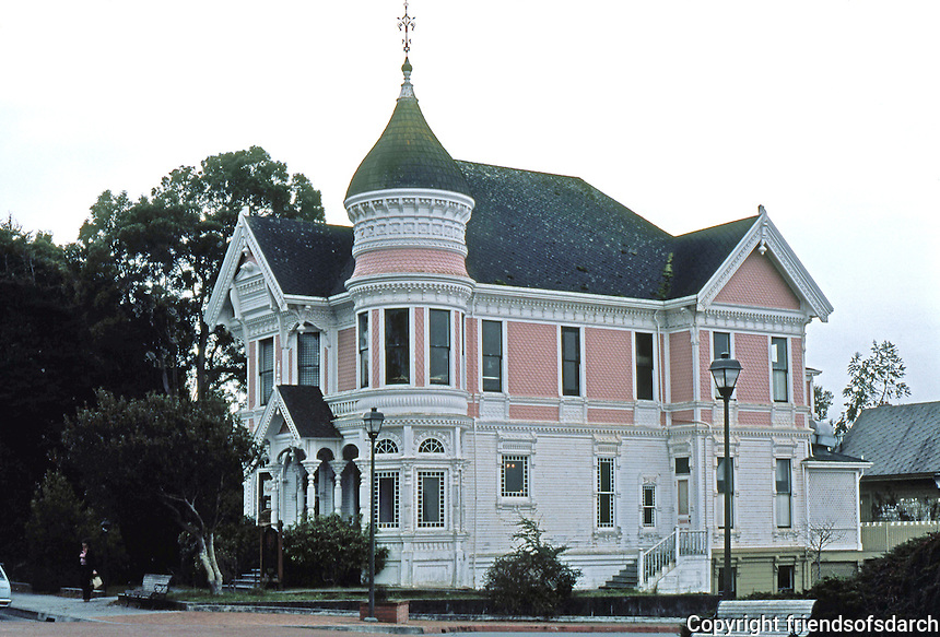 Eureka CA: Carson  (the  younger) house, across street from Carson House, 1887. Samuel & Joseph C. Newsom. Queen Anne style.  Photo '83.