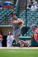 Lehigh Valley IronPigs designated hitter Matt McBride (30) follows through on a swing in front of catcher Cameron Rupp (22) during a game against the Rochester Red Wings on July 1, 2018 at Frontier Field in Rochester, New York.  Rochester defeated Lehigh Valley 7-6.  (Mike Janes/Four Seam Images)