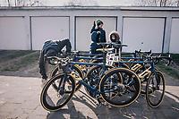 Team Aqua Blue Sport bikes at the ready<br /> <br /> 50th GP Samyn 2018<br /> Quaregnon > Dour: 200km (BELGIUM)