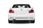 Straight rear view of 2017 BMW 2-Series 230i 2 Door Coupe Rear View  stock images