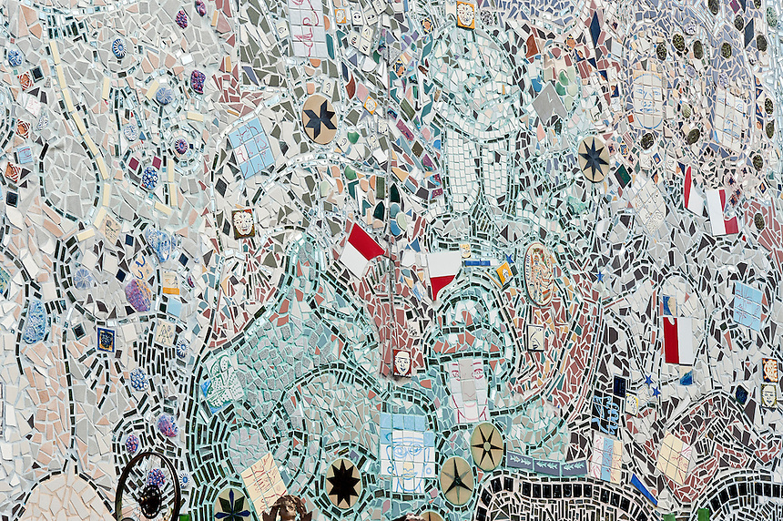 Magic Garden detail, a mosaiced folk art environment by Isaiah Zagar, Philadelphia, Pennsylvania, USA