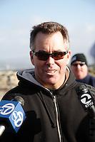 Jeff Clark being interviewed, 2007-2008 Mavericks Opening Ceremonies, Dec., 7, 2007, Half Moon Bay, California.