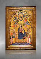 Gothic altarpiece of Madonna Of Humility With The Eternal Father In Glory, by Cenni di Francesco di Ser Cenni of Florence, circa 1375-80, tempera and gold leaf on wood. The Madonna and Child are depicted with the 12 apostles. National Museum of Catalan Art, Barcelona, Spain, inv no: MNAC  212805. Against a grey art background.