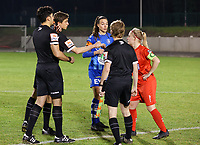 Captain Jana Simons (8) of Woluwe gives a fist bump to assistant referee Alexandre Minnoy before a female soccer game between FC Femina White Star Woluwe and AA Gent Ladies on the 13 th matchday of the 2020 - 2021 season of Belgian Scooore Womens Super League , friday 5 th of February 2021  in Woluwe , Belgium . PHOTO SPORTPIX.BE | SPP | SEVIL OKTEM