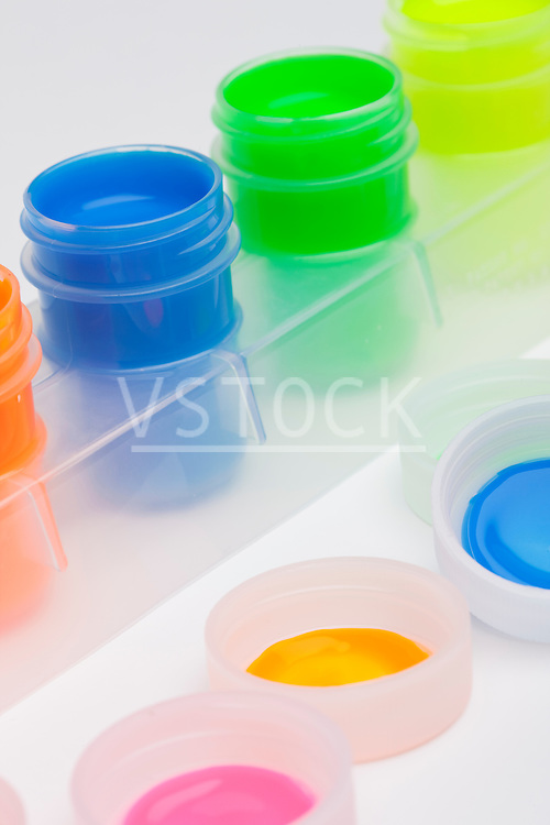 Studio shot of multicolored paints