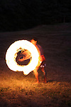 Hawaiian Fire Dancer performing at night
