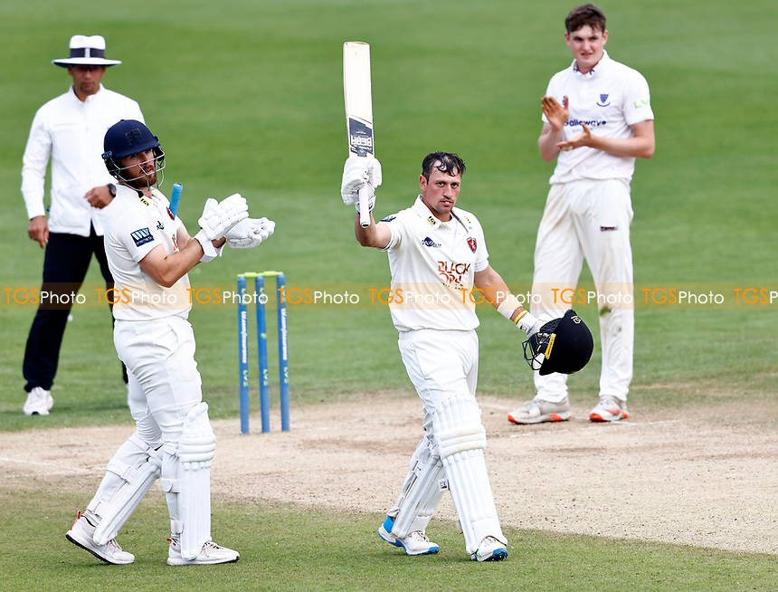 Harry Finch celebrates his century for Kent during Kent CCC vs Sussex CCC, LV Insurance County Championship Group 3 Cricket at The Spitfire Ground on 14th July 2021