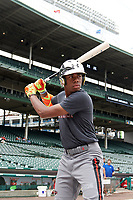 Hunter Greene (42) of Notre Dame High School in Stevenson Ranch, California during practice before the Under Armour All-American Game presented by Baseball Factory on July 23, 2016 at Wrigley Field in Chicago, Illinois.  (Mike Janes/Four Seam Images)