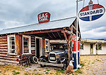 Antique Ford Truck parked at the Gas Station. Polson, Montana