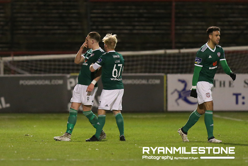 Ronan Curtis celebrates after scoring a goal during the SSE Airtricity League Premier Division game between Bohemians and Derry City on Tuesday 27th February 2018 at Dalymount Park, Dublin. Photo By: Michael P Ryan