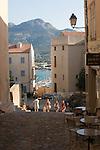 Corsica, France, Calvi, Northwest coast, Mediterranean Sea, Coastal towns in Corsica, Stone steps and passage ways in the Citadel,