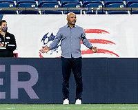 FOXBOROUGH, MA - AUGUST 26: New England Revolution II coach Clint Peay reacts to a call during a game between Greenville Triumph SC and New England Revolution II at Gillette Stadium on August 26, 2020 in Foxborough, Massachusetts.