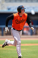 FCL Orioles Orange Jacob Teter (26) runs to first base during a game against the FCL Rays on August 2, 2021 at Charlotte Sports Park in Port Charlotte, Florida.  (Mike Janes/Four Seam Images)