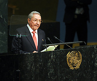 NEW YORK, NY - SEPTEMBER 26: The President of Cuba Mr. Raul Castro Luz attends the United Nations General Assembly at the United Nations on September 26, 2015 in New York City.<br /> <br /> <br /> People:  President of Cuba Mr. Raul Castro Luz