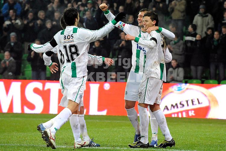 voetbal fc groningen - nec eredivisie seizoen 2008-2009 04-02-2009 marcus berg viert de 1-0.  fotograaf jan kanning. . .