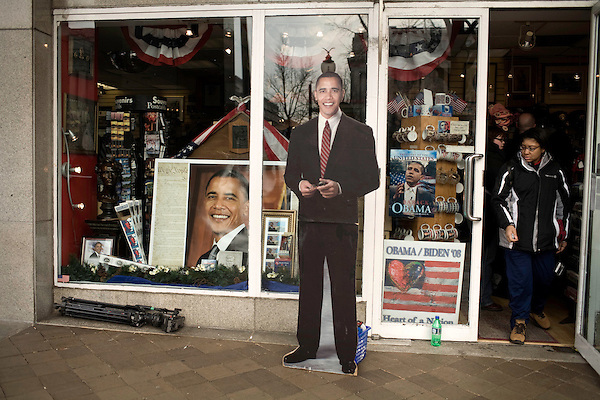 January 19, 2009. Washington, DC..Thousands of people congregated on the National Mall on the day before the inauguration of Barack Obama, the 44th president of the United States.. An Obama cutout at an inauguration merchandise store on Pennsylvania Avenue.