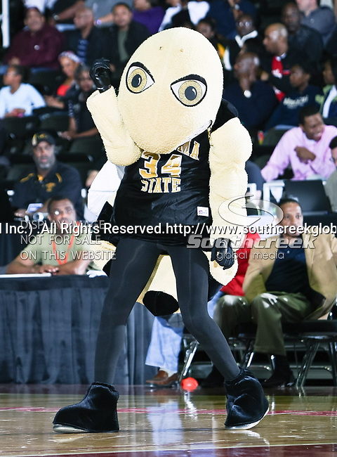The Alabama State Hornets team mascot in action during the SWAC Championship game between the Alabama State Hornets and the Grambling State Tigers at the Special Events Center in Garland, Texas. Alabama State defeats Grambling State 65 to 48.