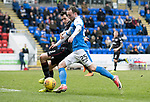 St Johnstone v Motherwell…07.04.18…  McDiarmid Park    SPFL<br />Chris Kane and Carl McHugh<br />Picture by Graeme Hart. <br />Copyright Perthshire Picture Agency<br />Tel: 01738 623350  Mobile: 07990 594431