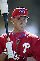 Mike Lieberthal of the Philadelphia Phillies before a 2002 MLB season game against the Los Angeles Dodgers at Dodger Stadium, in Los Angeles, California. (Larry Goren/Four Seam Images)