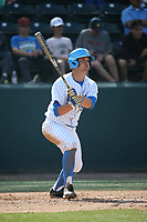Kyle Cuellar (29) of the UCLA Bruins bats against the Arizona Wildcats at Jackie Robinson Stadium on March 19, 2017 in Los Angeles, California. UCLA defeated Arizona, 8-7. (Larry Goren/Four Seam Images)