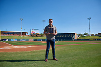 Tyler Stephenson, of the Glendale Desert Dogs and Cincinnati Reds organization, is presented with the Dernell Stenson Award before the Arizona Fall League Championship Game between the Salt River Rafters and Surprise Saguaros on October 26, 2019 at Salt River Fields at Talking Stick in Scottsdale, Arizona. (Zachary Lucy/Four Seam Images)
