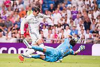 Real Madrid's player Alvaro Morata and Stade de Reims's player Carrasso during the XXXVII Santiago Bernabeu Trophy in Madrid. August 16, Spain. 2016. (ALTERPHOTOS/BorjaB.Hojas) /NORTEPHOTO