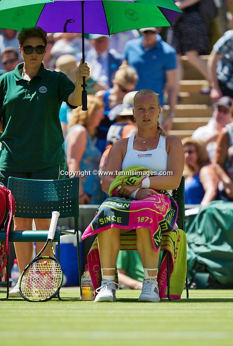 England, London, June 30, 2015, Tennis, Wimbledon, Kiki Bertens (NED) during changeover<br /> Photo: Tennisimages/Henk Koster