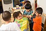 Education preschool 3 year olds pretend play hair cut/hair salon girl and group of three boys