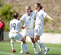 Lauren Cheney, center, celebrates with Abby Wambach, right, and Kelley O'Hara, left after scoring a goal. .USA 3-0 over Mexico in San Diego, California, Sunday, March 28, 2010.