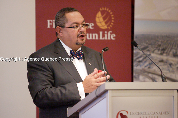 Montreal (Qc) CANADA - February 1st 2011 - THE HONOURABLE ARTHUR T. PORTER, P.C. MD, DIRECTOR GENERAL AND CHIEF EXECUTIVE OFFICER OF THE MCGILL UNIVERSITY HEALTH CENTRE, SPEAKS BEFORE THE CANADIAN CLUB OF MONTREAL<br /> <br /> Photo : Agence Quebec Presse.